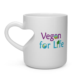Vegan for Life Heart Shape Mug