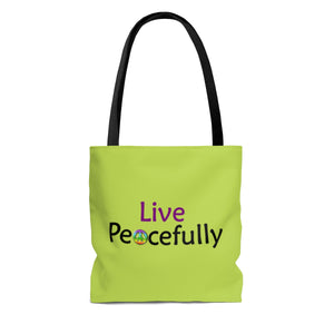 Live Peacefully Tote Bag - Lime Green