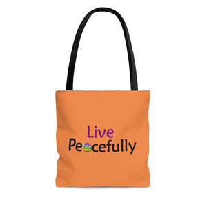 Live Peacefully Tote Bag - Orange