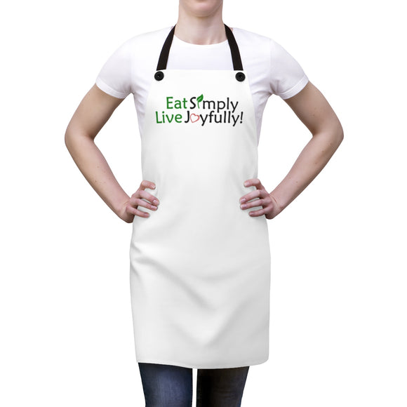 Eat Simply, Live Joyfully Apron - white