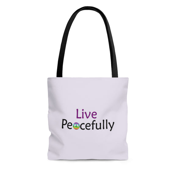 Live Peacefully Tote Bag - Light Purple