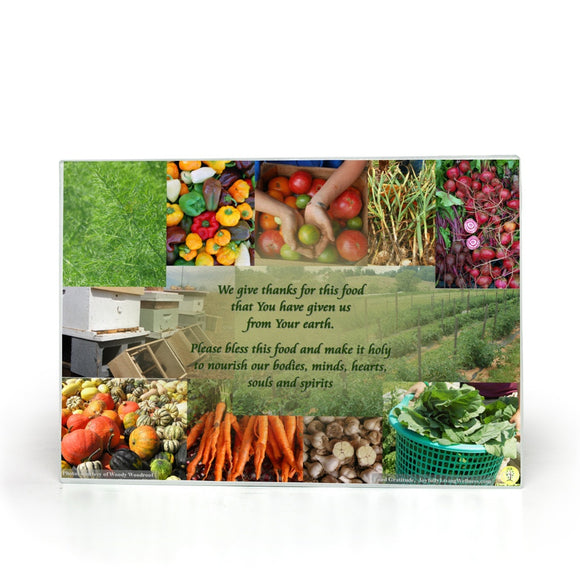 Food Gratitude Prayer Glass Cutting Board