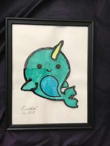 Handmade  Narwhal 8.5 x 12 in Framed VHS Upcycle Art