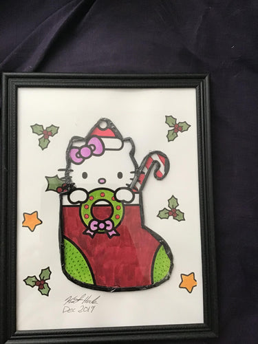 Handmade Hello Kitty Christmas Stocking 8.5 x 12 in Framed VHS Upcycle Art