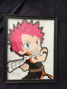 Handmade Fairy Tail Natsu 8.5 x 12 in Framed VHS Upcycle Art