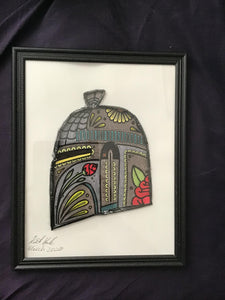 Handmade Mandalorian Sugar Skull Helmet  8.5 x 12 in Framed VHS Upcycle Art