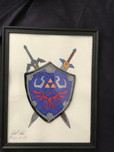 Handmade  Legend of Zelda Shield and Swords 8.5 x 12 in Framed VHS Upcycle Art