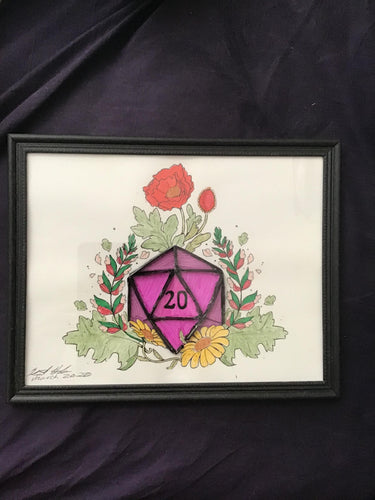 Handmade Pink D20 8.5 x 12 in Framed VHS Upcycle Art