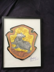 Handmade Harry Potter Hufflepuff Crest 8.5 x 12 in Framed VHS Upcycle  Fan Art