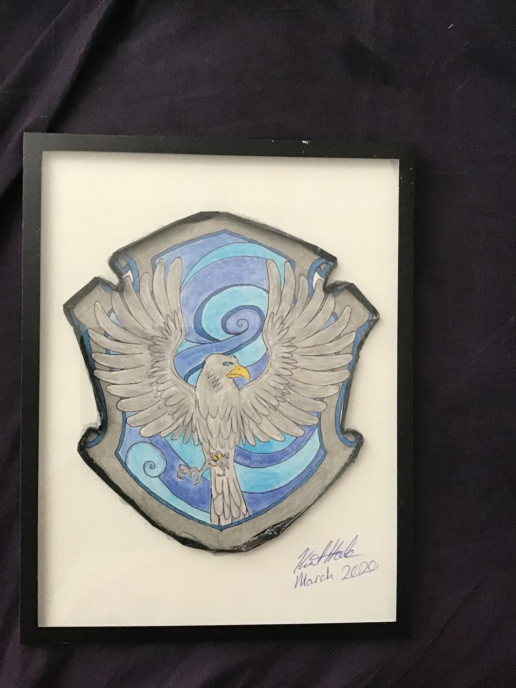 Handmade Harry Potter Ravenclaw Hogwarts Crest  8.5 x 12 in Framed VHS Upcycle Art