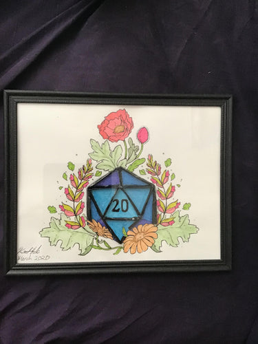 Handmade Blue D20 8.5 x 12 in Framed VHS Upcycle Art