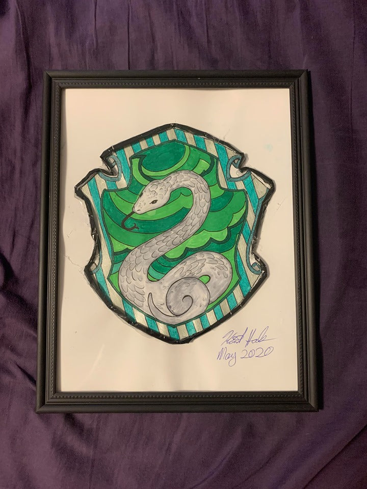 Handmade  Harry Potter Slytherin Crest 8.5 x 12 in Framed VHS Upcycle Art