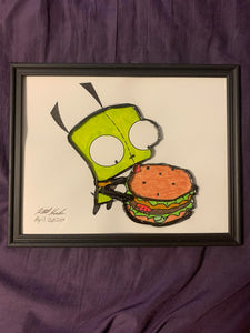 Handmade  Gir with Burger 8.5 x 12 in Framed VHS Upcycle Art