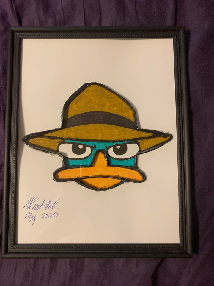 Handmade Phineas and Ferb Agent P 8.5 x 12 in Framed VHS Upcycle Art