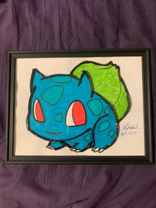 Handmade Pokemon Bulbasaur 8.5 x 12 in Framed VHS Upcycle Art