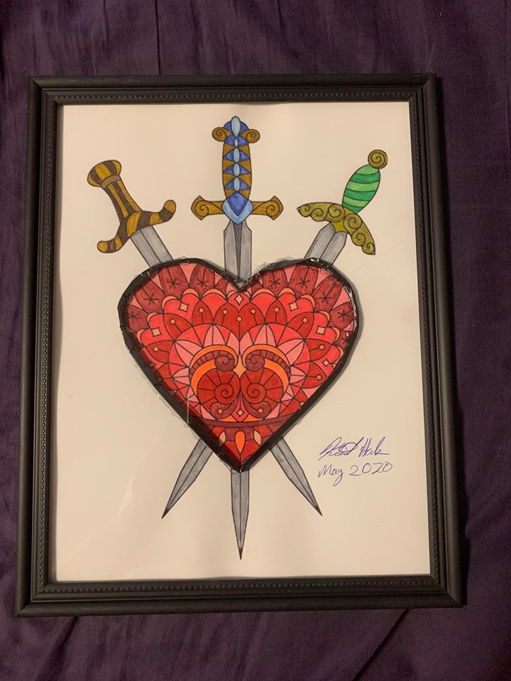 Handmade  Three of Swords 8.5 x 12 in Framed VHS Upcycle Art