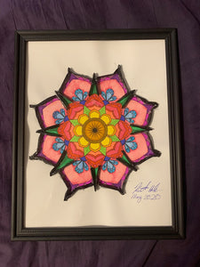 Handmade Mandala 8.5 x 12 in Framed VHS Upcycle Art