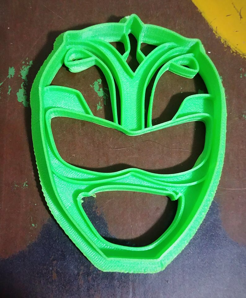 3D Printed Cookie Cutter Inspired by MMPR Green Ranger Helmet