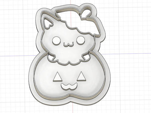 3D Printed Pumpkin Kitty Cookie Cutter