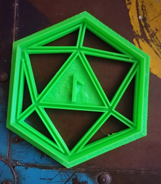 3D Printed D20 Critical Fail Cookie Cutter