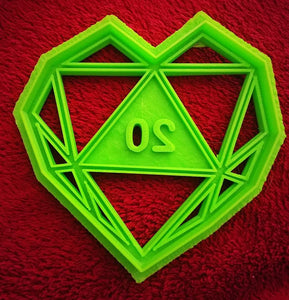 3D Printed Cookie Cutter Inspired by D20 Heart Critical Love