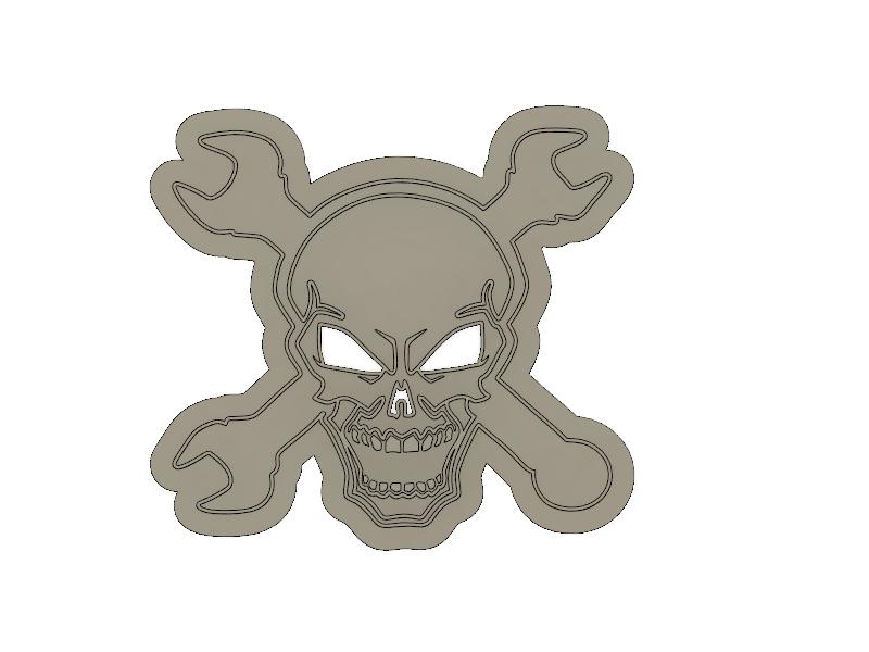 3D Printed Mechanics Skull and Cross Wrenches Cookie Cutter