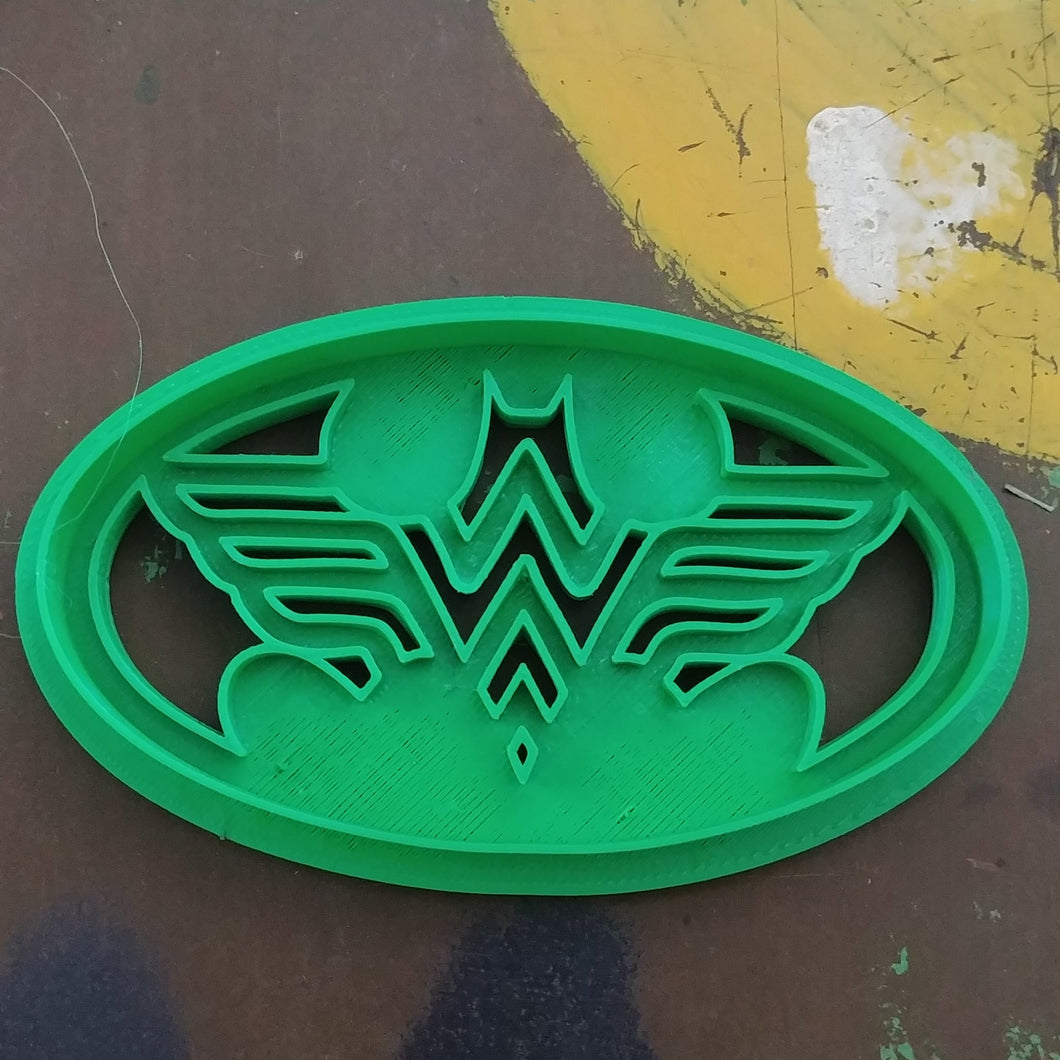 3D Printed Cookie Cutter Inspired by Batman Wonder Woman Logo