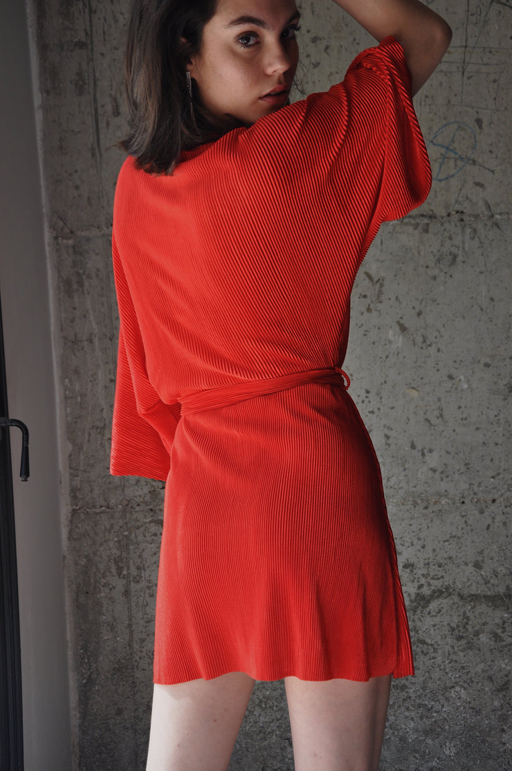 Short Plisse Dress - Red