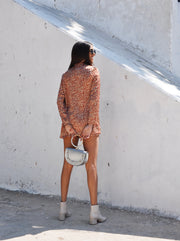 Short Blazer Suit - Orange Small Leopard