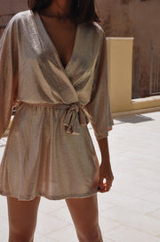 Short Plisse Dress - Rose Gold