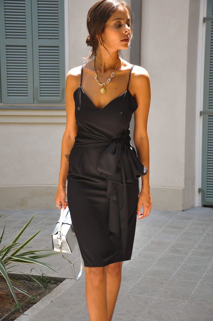 Mid Tie Dress - Black