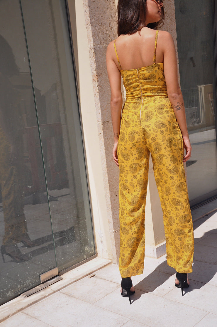 Poly Jumpsuit - Yellow Pattern