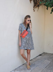 Oversize Pattern Dress - Black Leopard