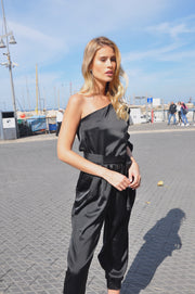 Veronica Satin Jumpsuit - Black