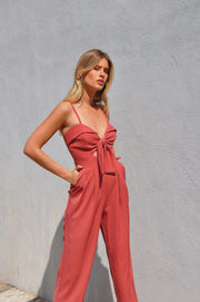 Poly Jumpsuit - Red Loam