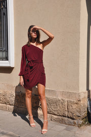 Victoria Bizou Dress - Bordeaux