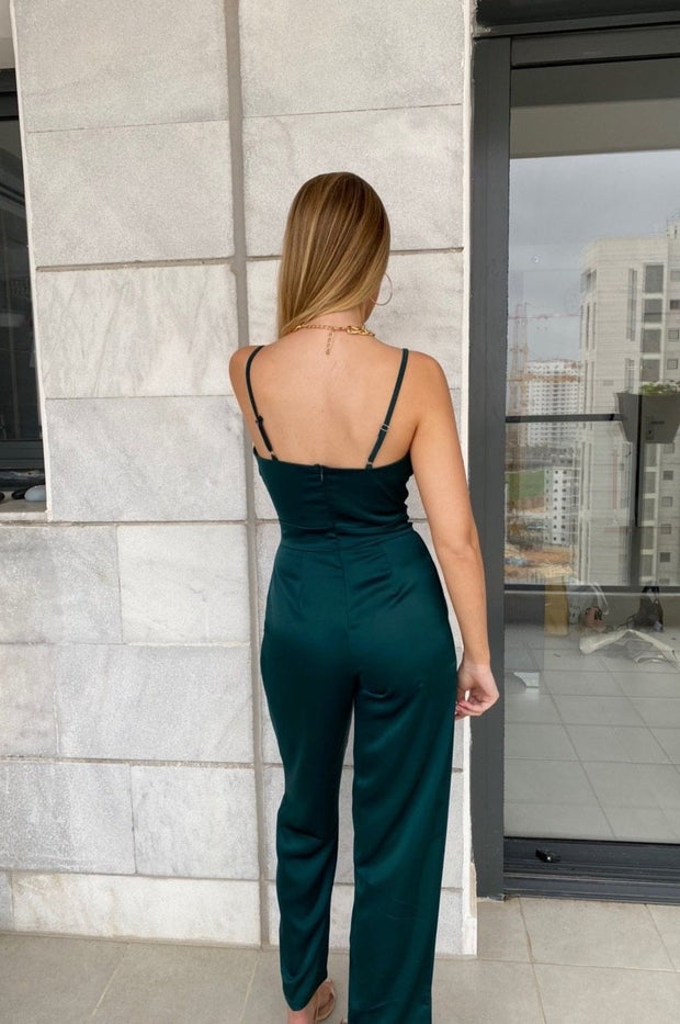 Poly Jumpsuit Satin - Green