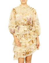 Load image into Gallery viewer, ZIMMERMANN SABOTAGE TIERED LACE MINI DRESS