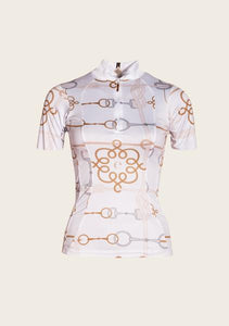 Espoir White Cable Short Sleeve Everyday Riding Shirt