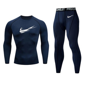 2019 men's thermal underwear set MMA rashgard tactics leggings Solid color fitness Men's compression set clothing Brands men