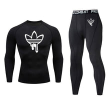 Load image into Gallery viewer, 2019 men's thermal underwear set MMA rashgard tactics leggings Solid color fitness Men's compression set clothing Brands men