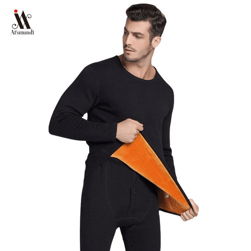 2019  Thermal Underwear Sets For Men  Winter Thermo Underwear Long Winter Clothes Men Thick Thermal Clothing Solid Drop Shipping
