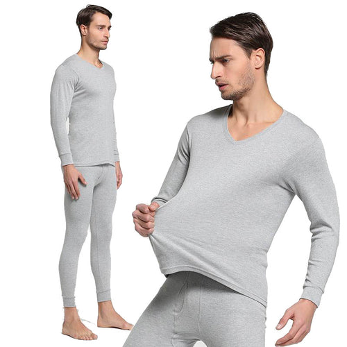 2019 Winter 100% Cotton Round Neck Warm Long Johns Set For Men Ultra-Soft Solid Color Thin Thermal Underwear Men's Pajamas M-3XL