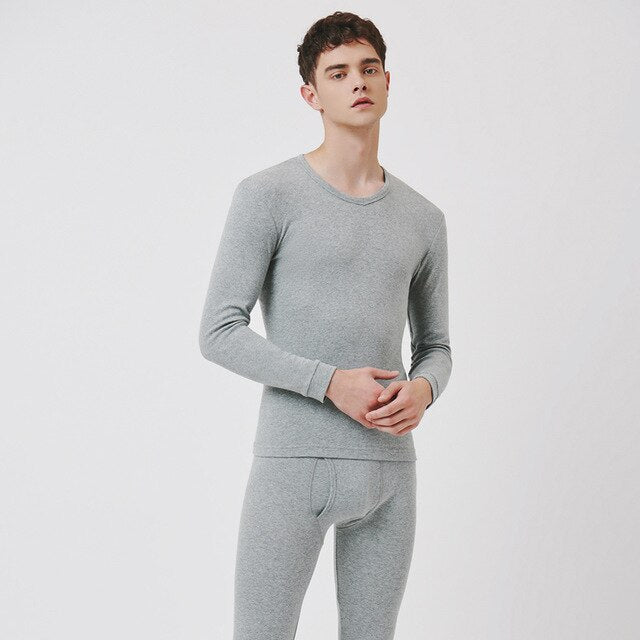 THREEGUN Long Johns Men Women Thermal Underwear Set Cotton Solid Couple Winter Underwear Lightweight Thermo Underwear Clothing