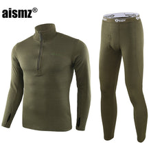 Load image into Gallery viewer, Aismz Men Winter Fleece Tactical Underwear Long Johns Uniforms Military Army Polartec Compression Thermal Warm Underwear Sets