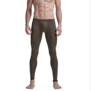 KWAN.Z male thermal underwear brand men's long johns leggings bottom thermo elastic silky translucent pajamas ice silk vetement