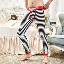 Load image into Gallery viewer, Cotton & Spandex Men's Thermal Underwear Sexy U-Convex Strips Fashion Long Johns Sleepwear Leggings Men Stretch & Tight Trousers