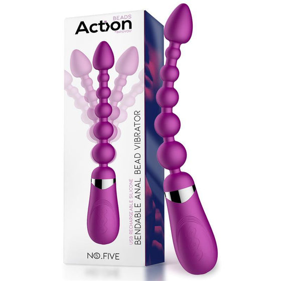 ACTION NO. FIVE BOLAS ANALES CON VIBRACION FLÉXIBLE USB SILICONA - Chocolate-Love-sexshop