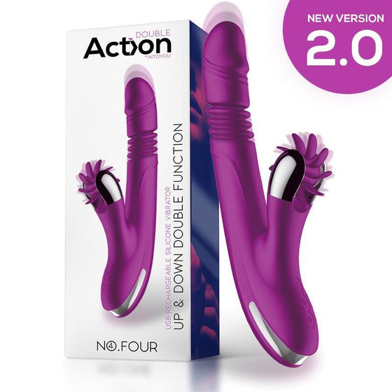 ACTION NO. FOUR VIBRADOR UP AND DOWN Y RUEDA ESTIMULADORA VERSIÓN 2.0 - Chocolate-Love-sexshop