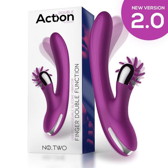 ACTION NO. TWO VIBRADOR MOVIMIENTO FINGER Y RUEDA ESTIMULADORA VERSIÓN 2020 - Chocolate-Love-sexshop